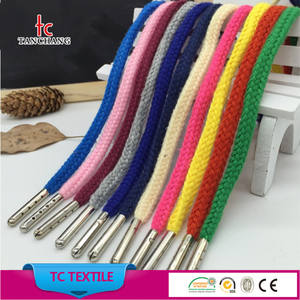2018 new fancy cotton cord dengan tips logam sepatu renda manufaktur TCSL01