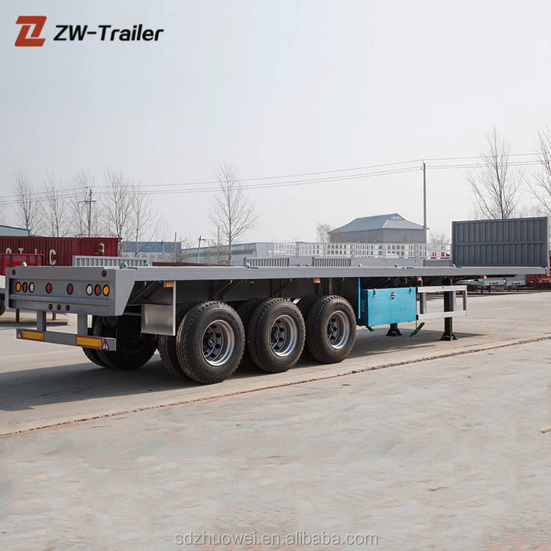 Container Semi Trailer [ Flatbed Semi Trailer ] 40ft Container Trailer Factory Price New 40ft Flatbed Gooseneck Container Chassis Semi Trailer
