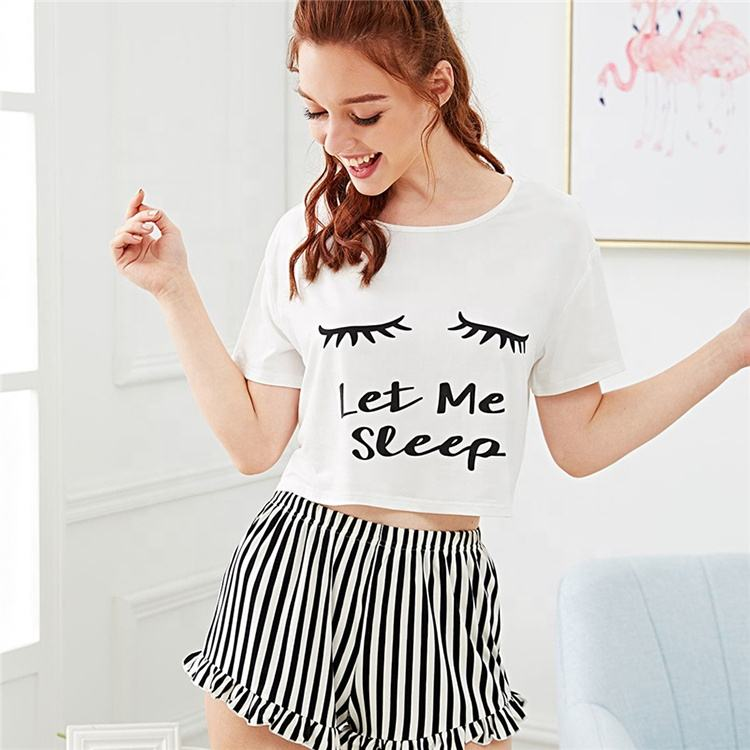 Graphic Tee Frilled Striped Shorts PJ Round Neck Short Sleeve Set 2019 Summer Women Patchwork Sleepwear