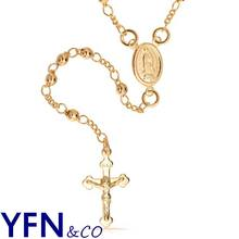 Fashionable  14K Gold Filled  Rosary Beads Modern  Virgin Mary Cross Necklace