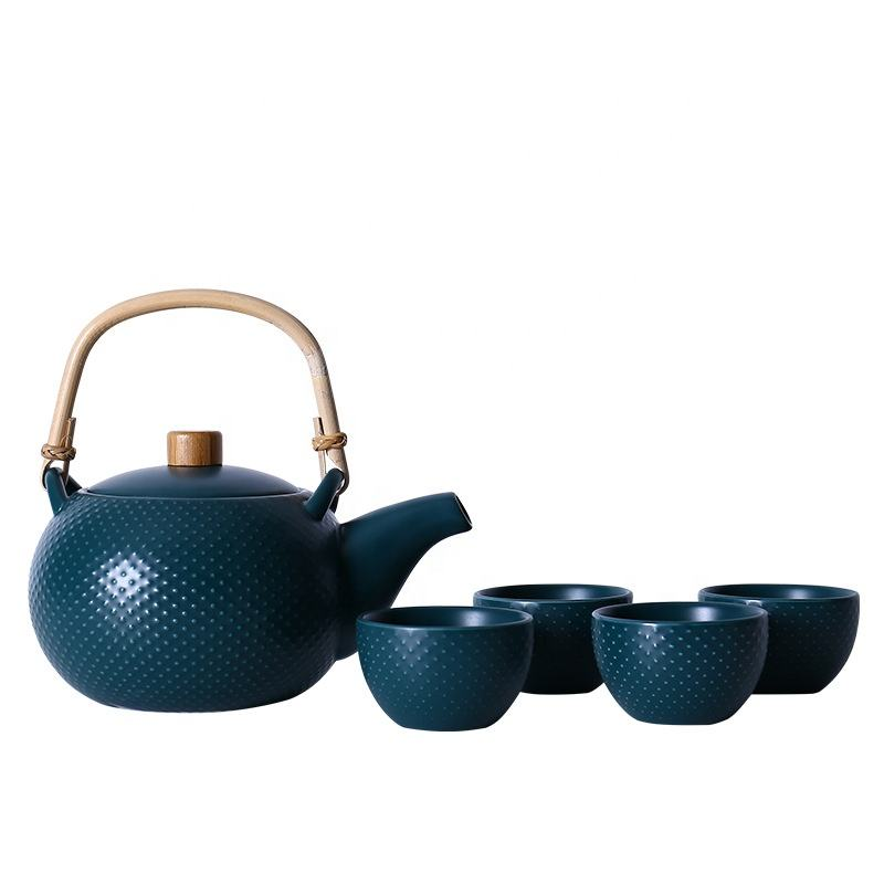 세라믹 Teapot Set In Solid Color Including 1 teapot 및 4 차 컵