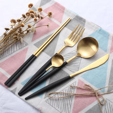 titanium gold forks spoon stainless steel cutlery