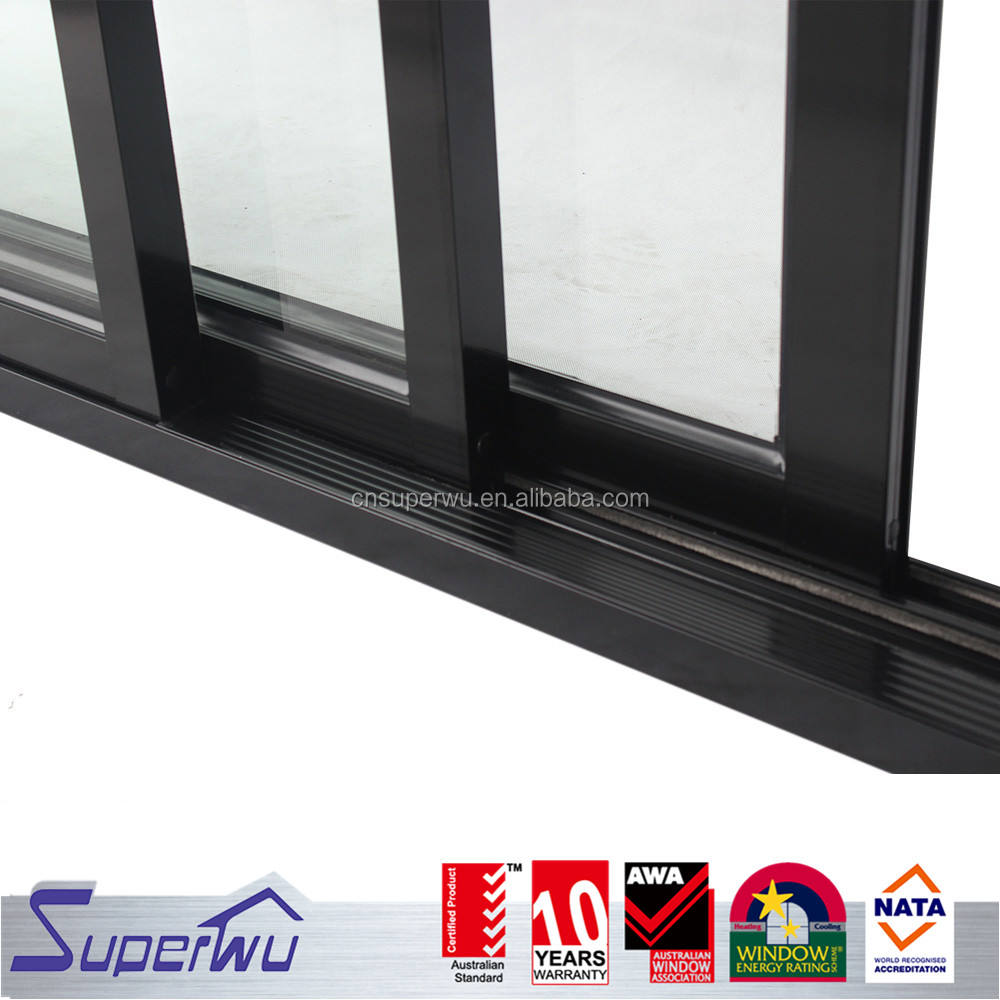 Commercial and Home 3 panel tempered safety glass aluminium profile sliding door