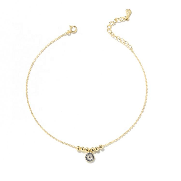 Gold Vermeil Eye of Evil Anklet Metal CZ Charm Gold Plated Anklet for women