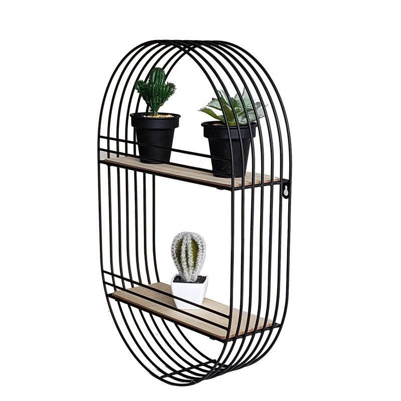 Nordic Hot Sale Display Decorative Black Garden Metal Wire Wall Hanging Decorative Wall Shelf For Planter Stand