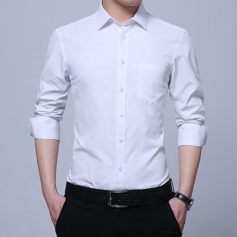 High quality spring white mens long sleeve business plain formal office dress shirt