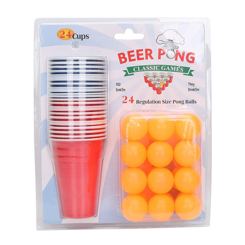 Nightclub Bar Disposable Party Games Beerpong games set with 24pcs Cups and 24pcs Balls