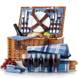 Time-limited Promotion Rattan Wicker Willow wholesale customized rectangle blue Picnic Basket hamper set 4 with mat blanket
