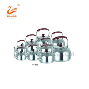 Polished aluminum tea kettle
