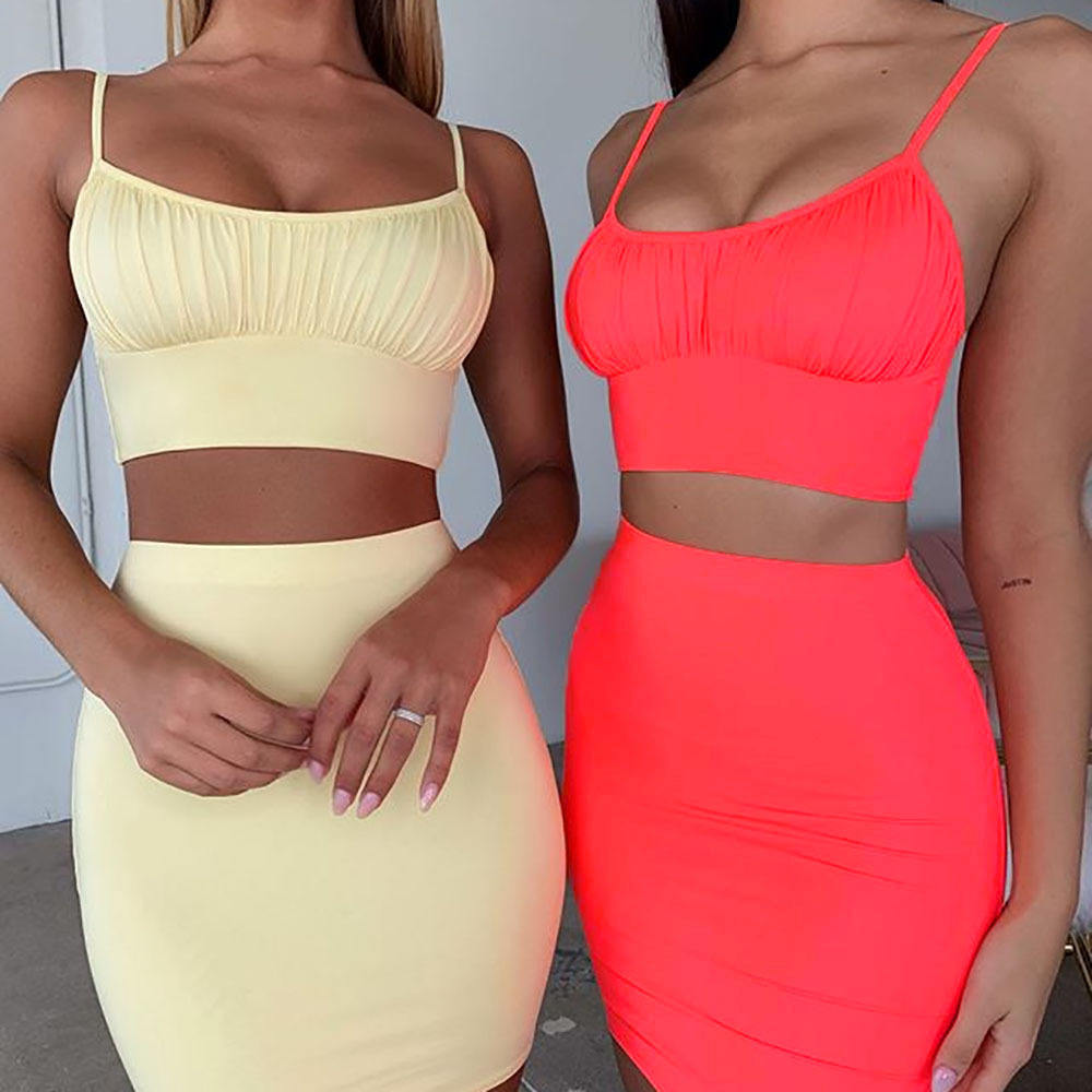 Free Shipping two piece strap crop top with mini dress New Design Fashion Clothes Casual Wear Summer Party Lady Dress