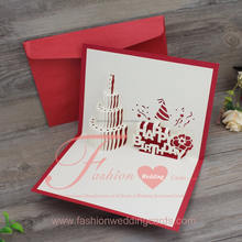3d Pop Up Laser Cut Wedding Invitations Congraduation Birthday Cake Greeting Card