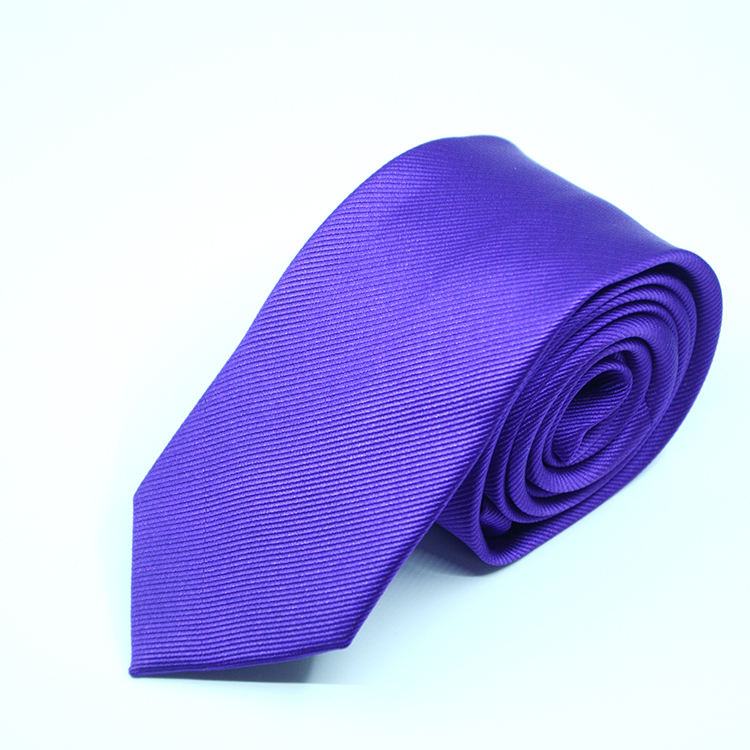Polyester purple solid color necktie for men