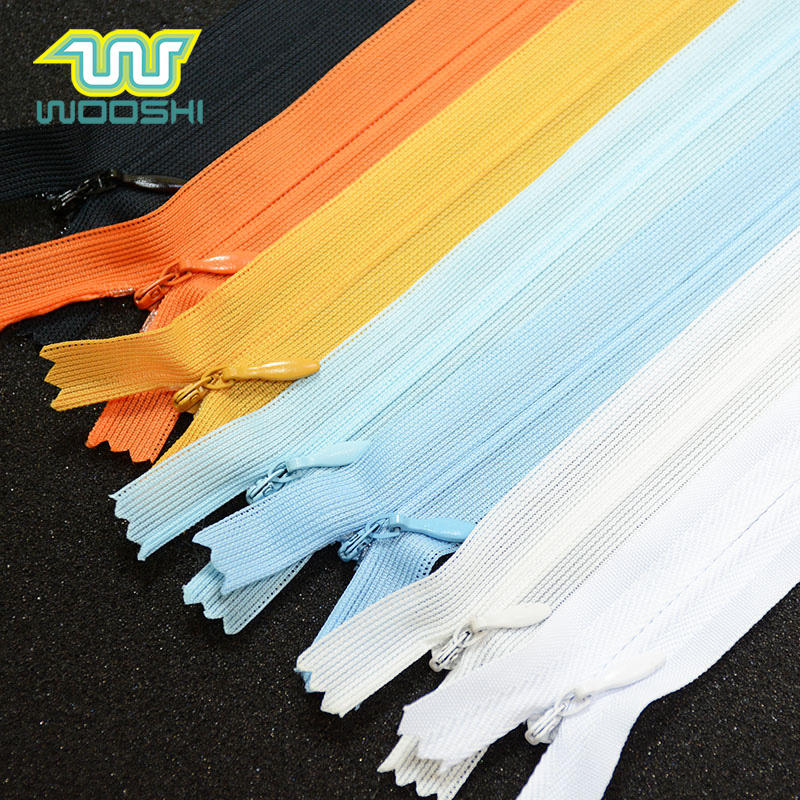 Colorful Close End 3 # Lace Reverse Coil Zipper Factory Customize Concealed Zip Invisible Nylon Zipper For Dress