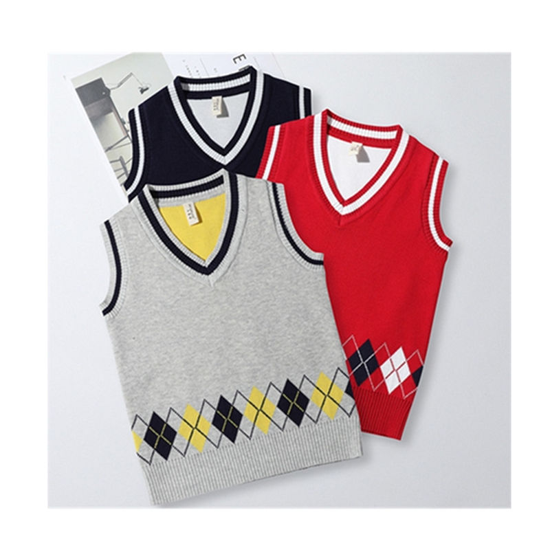 2019 Wholesale Kids Clothing Boy V Neck Kids Sweater Vests