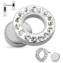 Surgical Steel Crystal Jewelled Gauge Earring