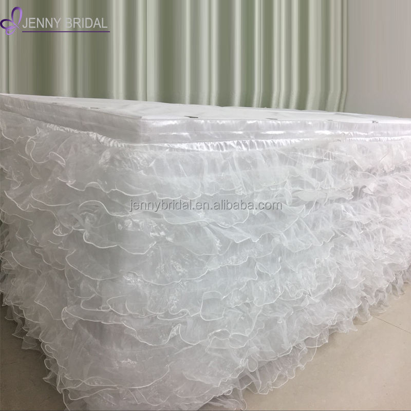 TC028A1 white hawaiian table skirt images organza ruffled event wedding table skirts decoration