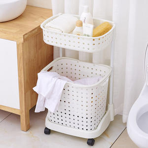 Collapsible plastic metal stand trolley cloth laundry baskets in bulk