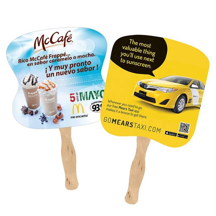 Custom Promotional Product advertising paper hand fans with wooden handle