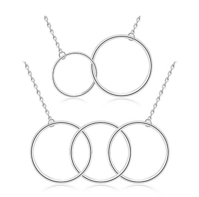 Plain Necklaces Sterling Silver 925 Two 3 Circle Necklace