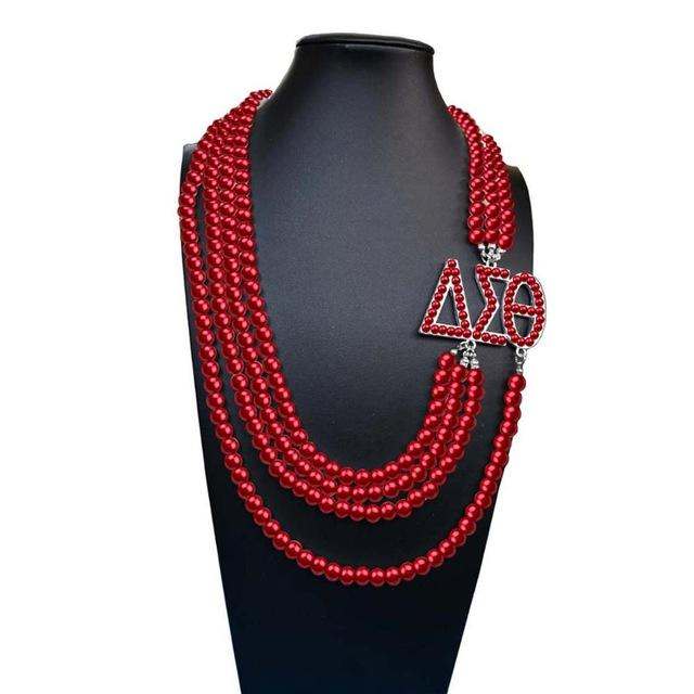 DST New Design Necklace Multilayer Statement Jewelry Delta Sorority Pearl Jewelry
