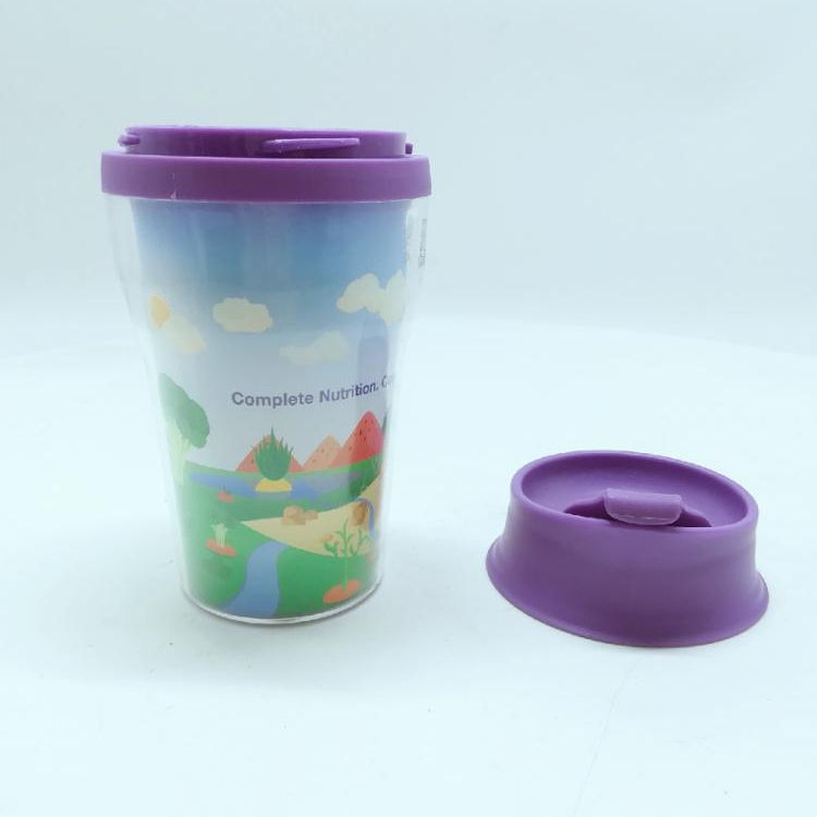 PP +PS+TRS Plastic Material Coffee Cup with Lid