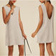 New women linen dress back split loose fitting sleeveless dress with a low back and a frayed hem dress