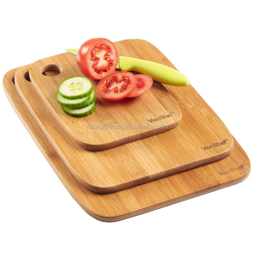 Bamboo Cutting Board Set 3 Pieces with Custom Logo