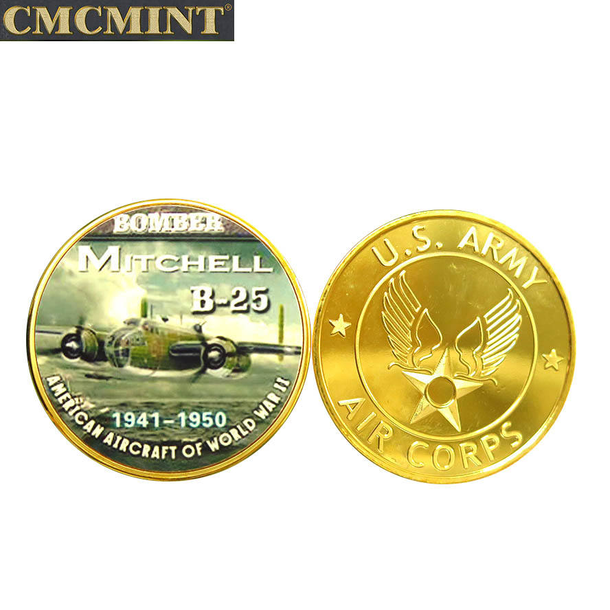 The newest islamic old coins indian rare 40mm B25 Bomb Plane Fighter Challenger Round coin