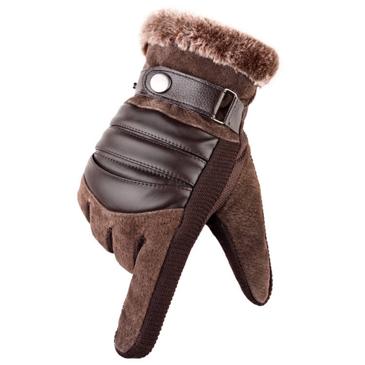 New real pigskin men winter leather touchscreen cycling wholesale fleece gloves