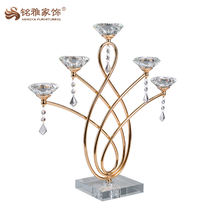 home accessories crystal candle holder gold silber wedding decorated glass candlesticks