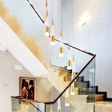 Meteor Shower spiral staircase living room hotel ceiling lamp custom gold modern led chandelier pendant light for home