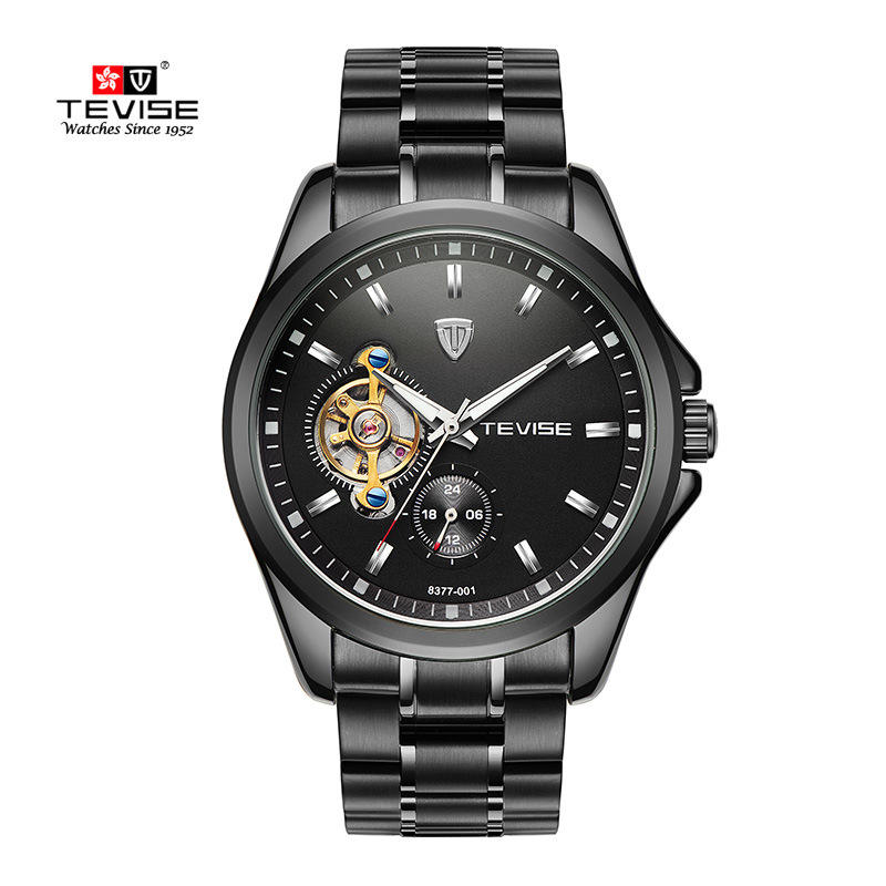 Tevise Brand Men's Automatic Black Watch With A Fly Wheel , Fashion Watch Has A Waterproof Function