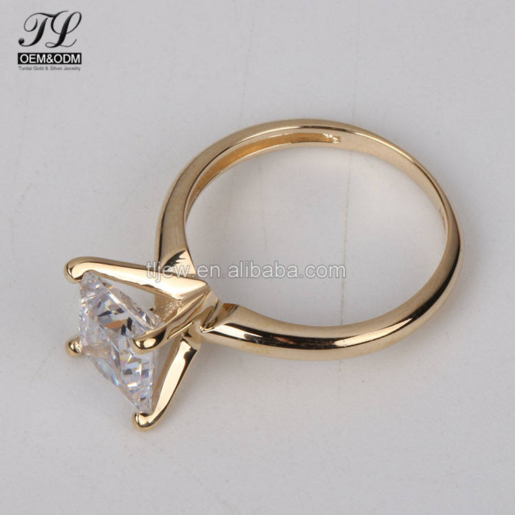 Customized wedding 925 silver rings gold 18k plated,solitaire American simulation diamond Chinese women gold rings