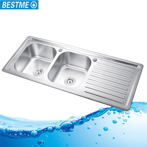 Israel stainless steel double bowl round kitchen sink with drainboard