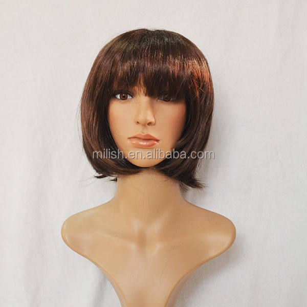 MPW-0339 Party Masquerade short brown bob china doll wig