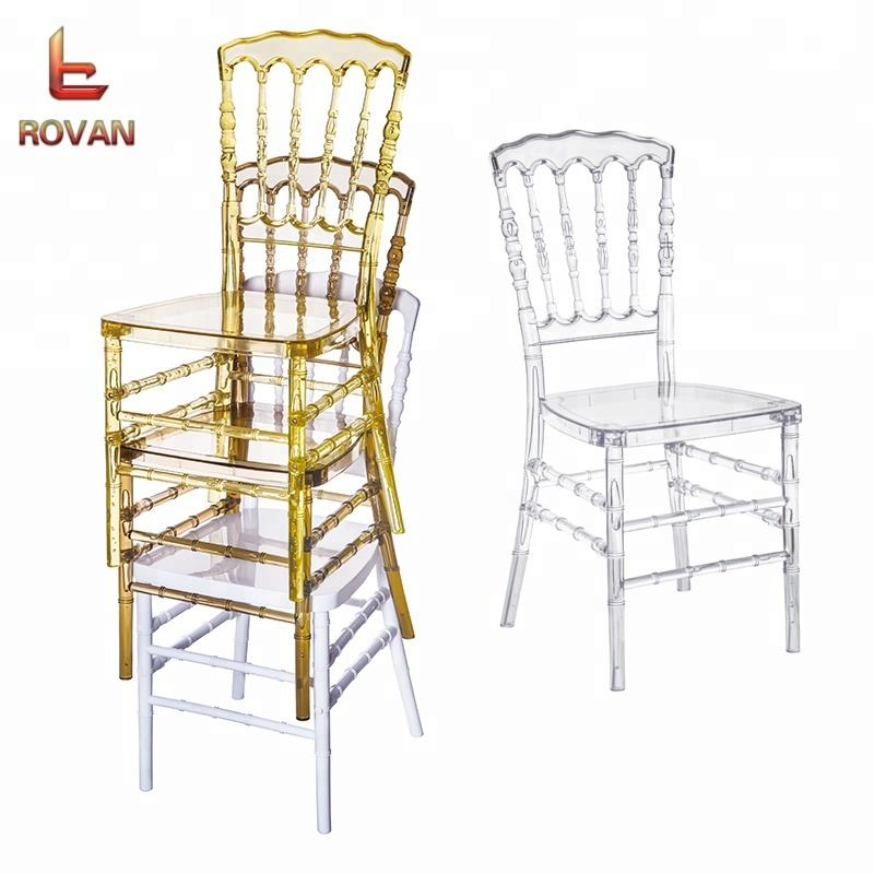 Plastic Polycarbonate Clear resin transparent royal wedding napoleon event rental acrylic chairs for sale