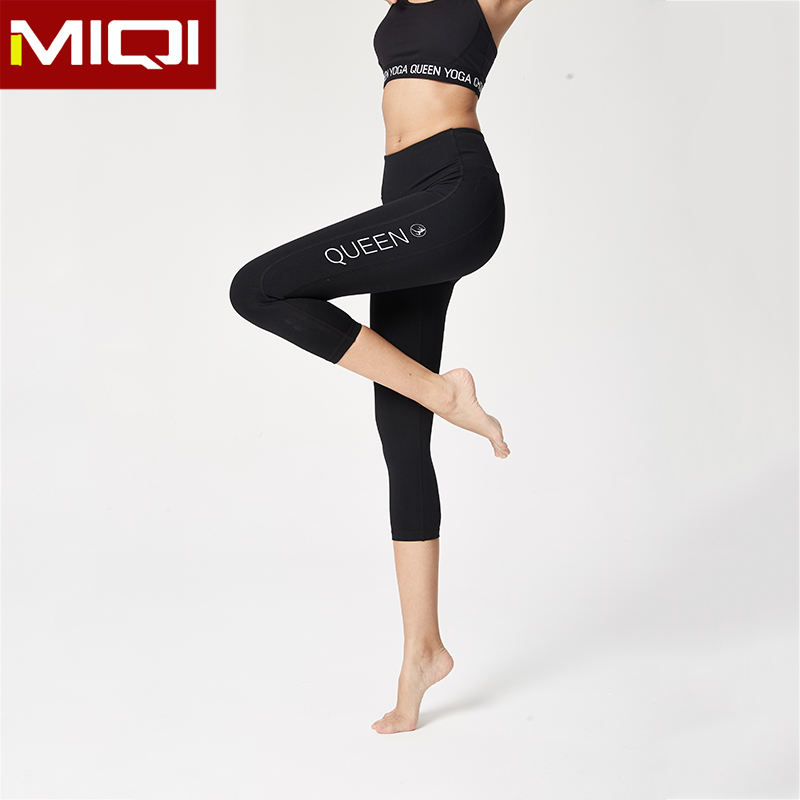 Bulk Ladies Girls 3/4 Length Spandex Yoga Leggings Wholesale Black Workout Capris for Women