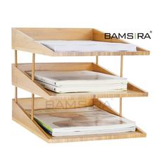 Bamboo 3 tier stackable desk document letter organizer file trays /Bamsira_Factory