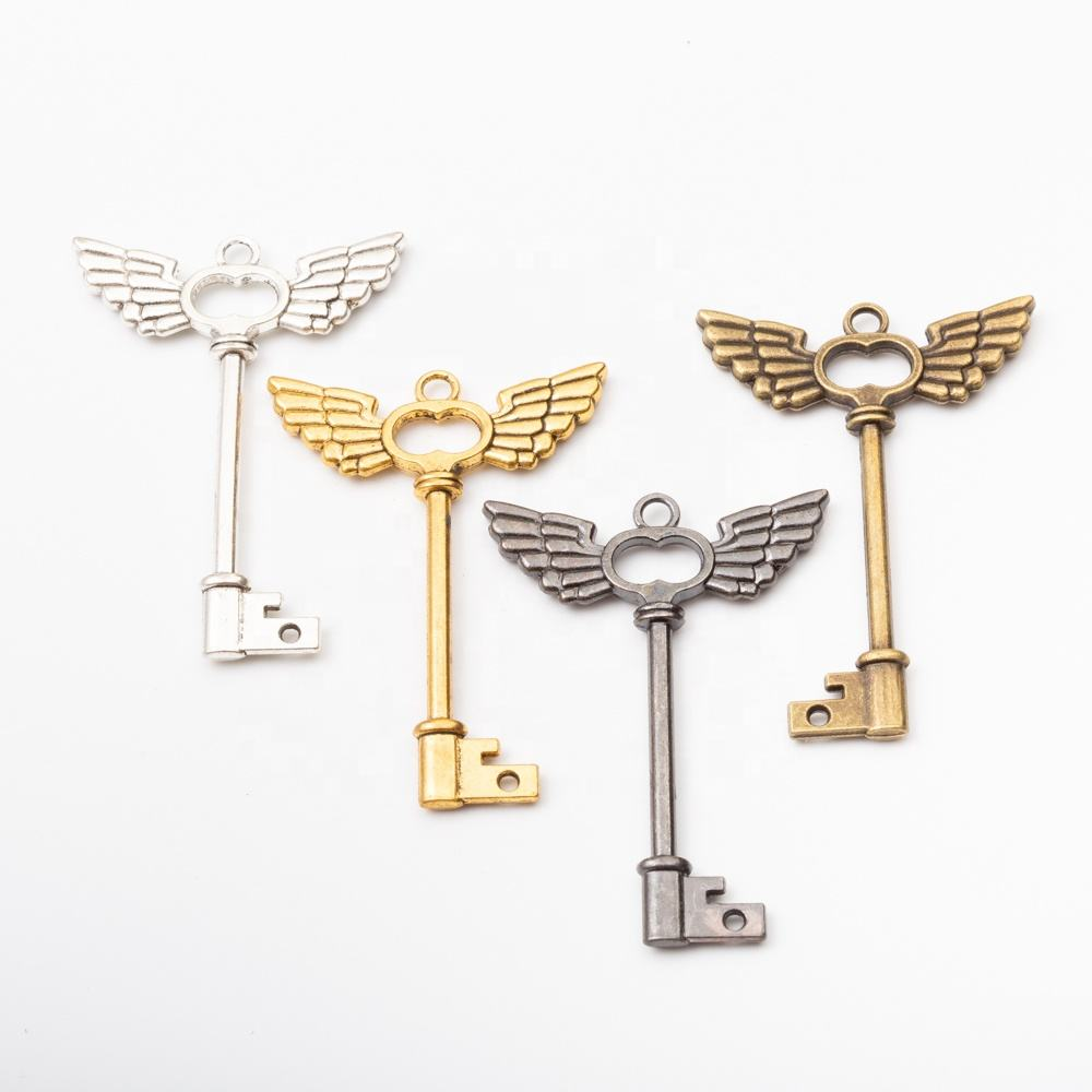 Jewelry making supplies Vintage charms wing key pendant for Fashion jewelry