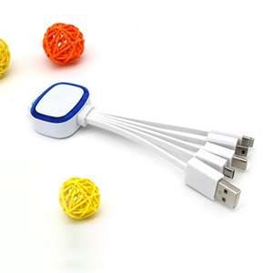 Newest Promotional 4 in 1 usb charging cable 5 in 1 data line with LED light and custom logo