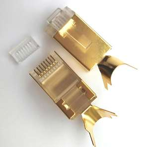 RJ45 8P8C Cat7 connettore RJ45 spina con placcatura in oro 50U 8P8C spina