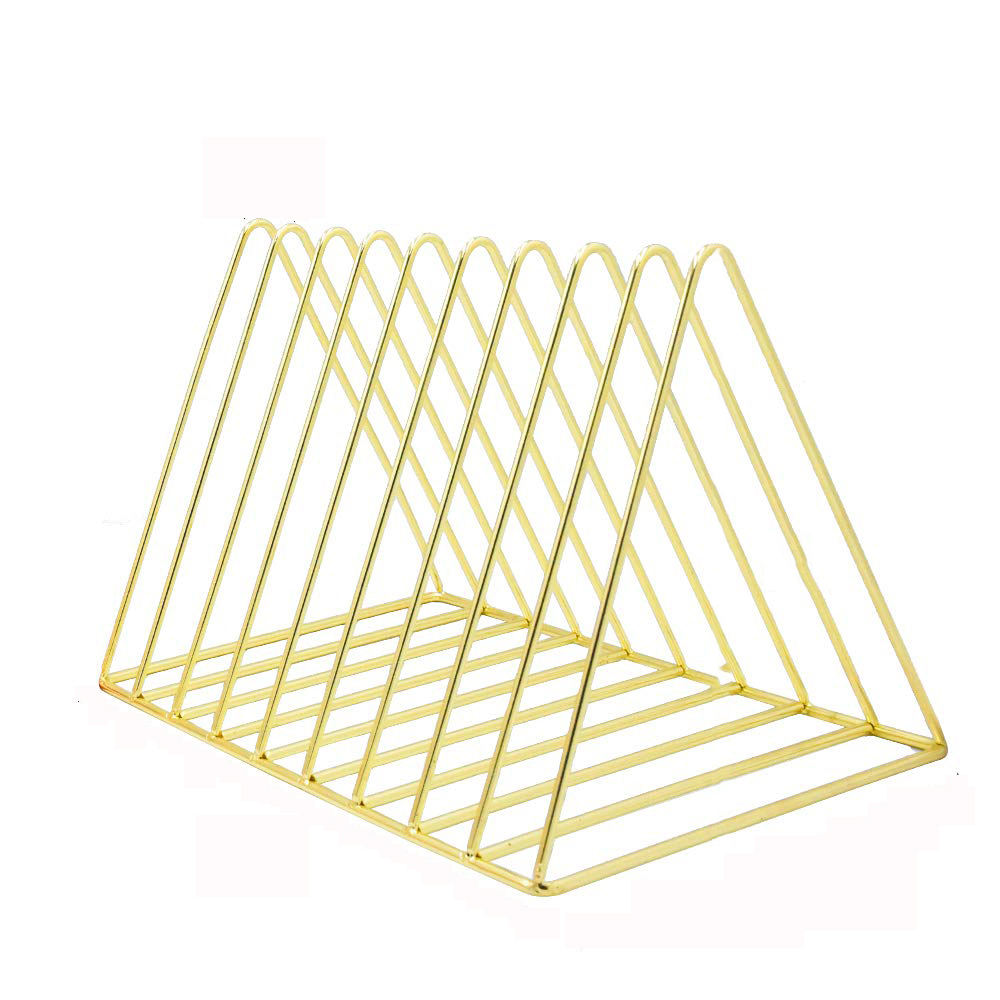 Wideny Office and school 9 sections Wire mesh Triangle Desk desktop Storage Rose gold metal magazine holder