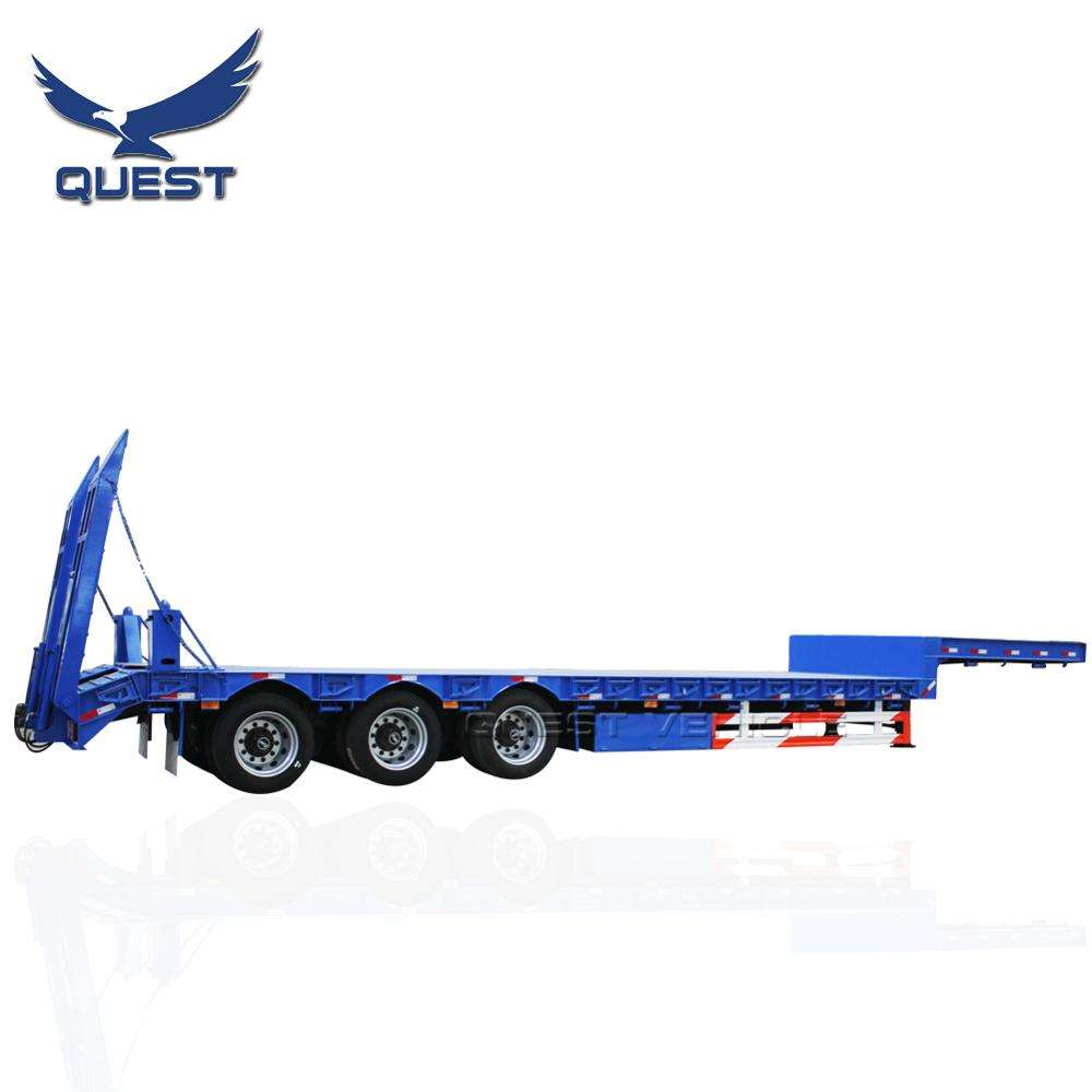 Quest factory price drop deck 45 feet 3 axles lowbed trailer truck ozgul low bed semi trailers for sale