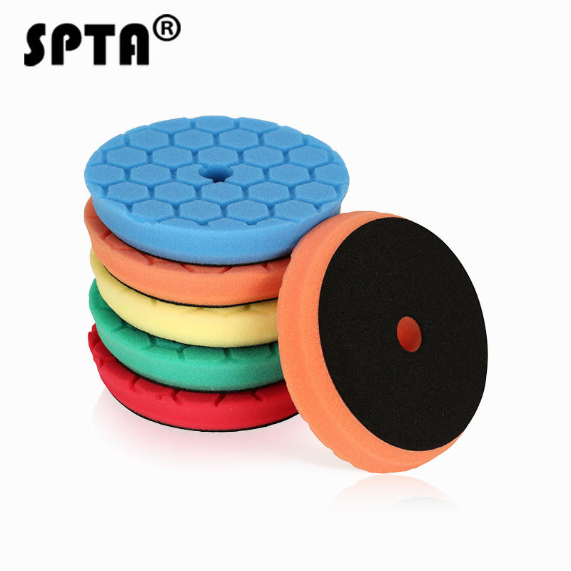SPTA 6 inch T Honeycomb Shape Multi Color Foam Polishing Pads for RO/DA Polisher