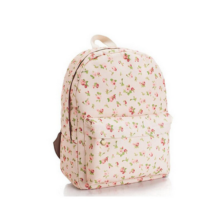 Factory Supply canvas beauty daily printing flower backpack custom bag for girls