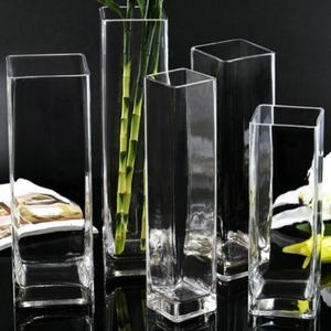 Simple creative square cylinder glass vase wholesale