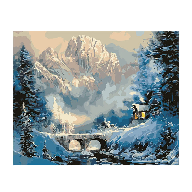 Tranquillo case circondato da snowy mountains Decorativa indoor hanging Painting by numbers Fai Da Te Digitale Pittura A Olio con Cornice