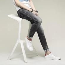 New Style Casual Slim Straight Pants Long Trousers gray Men Denim Jean
