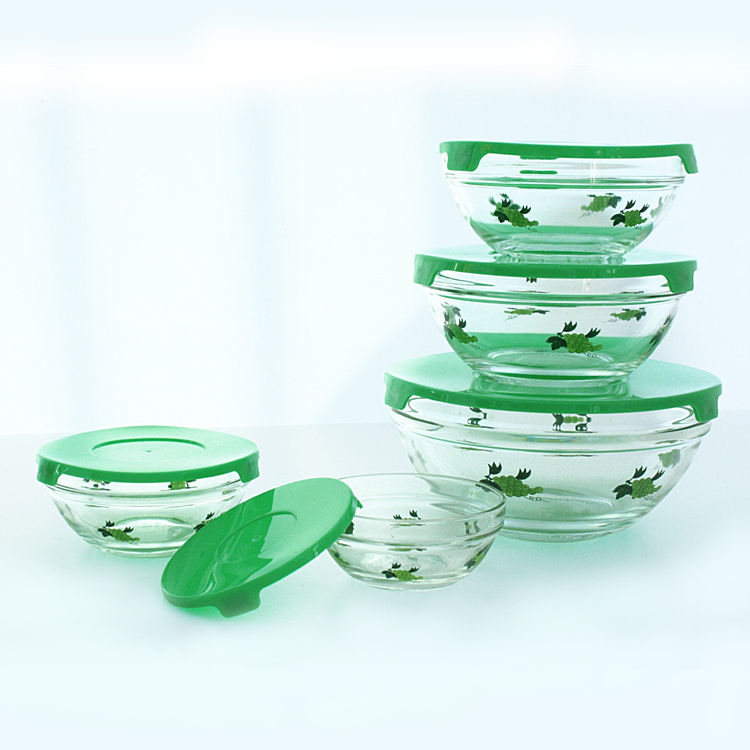 Five Pieces Glass Cooking Bowl Set With Colorful Lid , glass food bowl