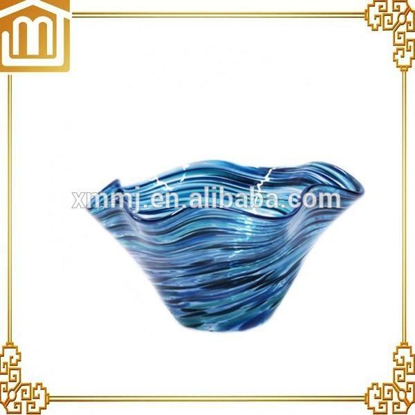 costume blu soffiato a mano di <span class=keywords><strong>murano</strong></span> arte ciotola di vetro decorazione